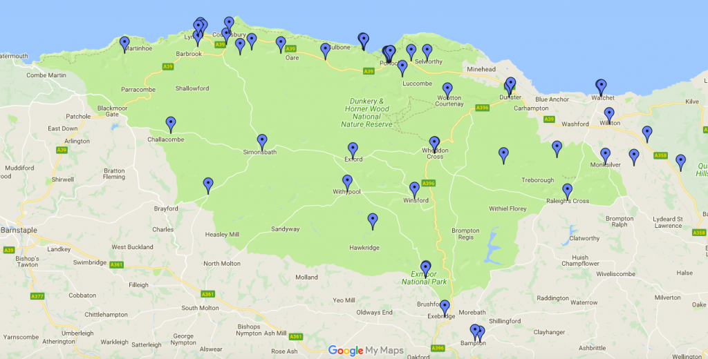 Exmoor map of places to eat