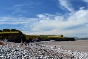Walkers on Kilve Beach