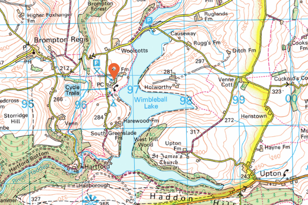 Map of Wimbleball Lake, Somerset