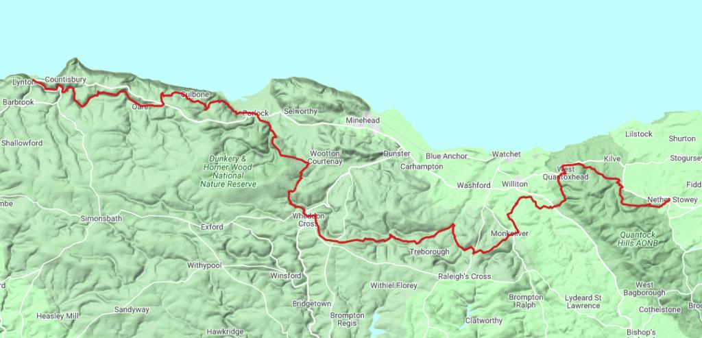 Overview map of the Coleridge Way