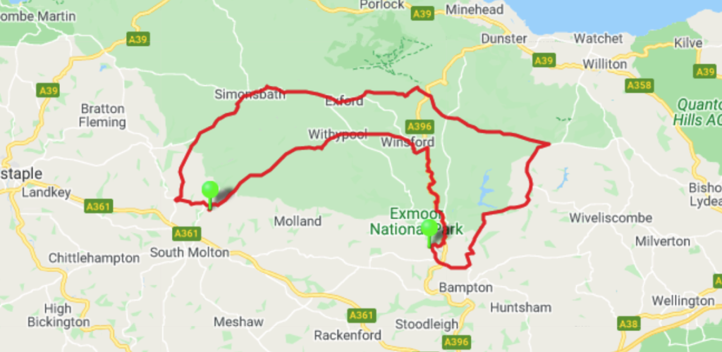 Exmoor beauty cycle event april map